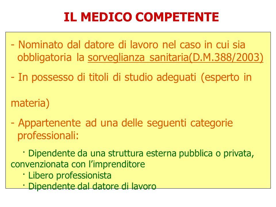 IL MEDICO COMPETENTE - Nominato dal datore di lavoro nel caso in cui sia obbligatoria la sorveglianza sanitaria(D.M.388/2003) - In possesso di titoli