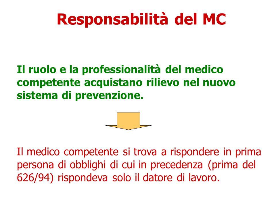 Responsabilità del MC Il ruolo e la professionalità del medico competente acquistano rilievo nel nuovo sistema di prevenzione. Il medico competente si