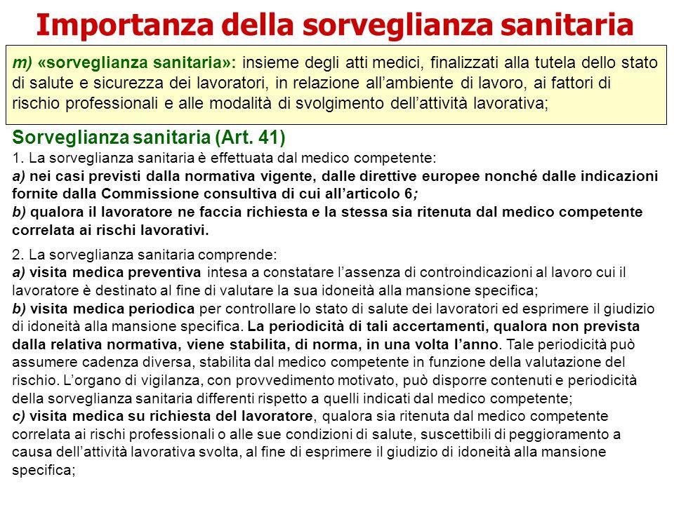 Importanza della sorveglianza sanitaria m) «sorveglianza sanitaria»: insieme degli atti medici, finalizzati alla tutela dello stato di salute e sicure