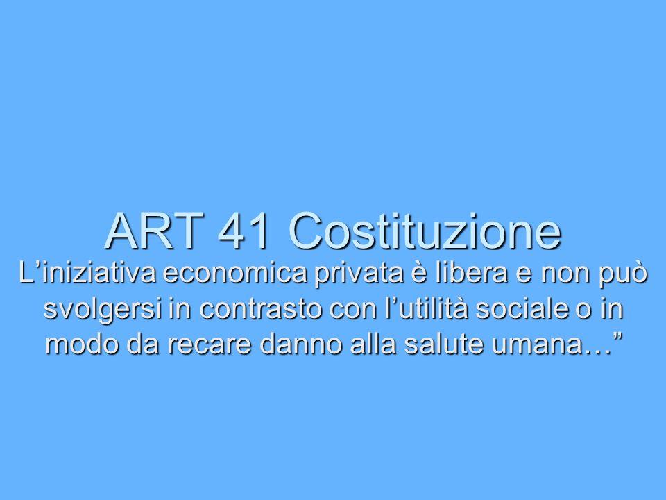 ART 41 Costituzione Liniziativa economica privata è libera e non può svolgersi in contrasto con lutilità sociale o in modo da recare danno alla salute