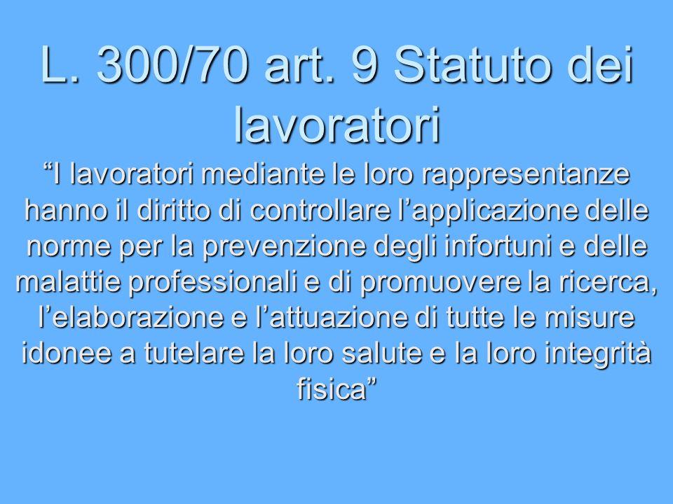 L. 300/70 art. 9 Statuto dei lavoratori I lavoratori mediante le loro rappresentanze hanno il diritto di controllare lapplicazione delle norme per la