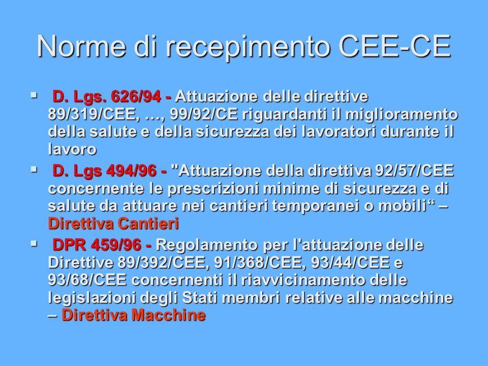 Norme di recepimento CEE-CE D. Lgs. 626/94 - Attuazione delle direttive 89/319/CEE, …, 99/92/CE riguardanti il miglioramento della salute e della sicu