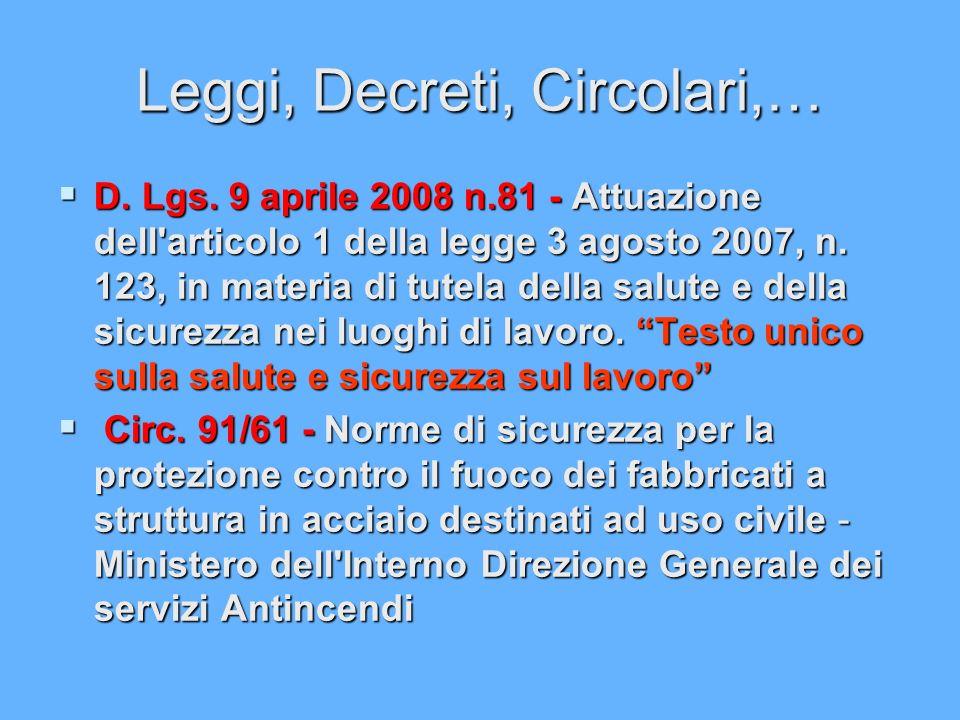 Leggi, Decreti, Circolari,… D. Lgs. 9 aprile 2008 n.81 - Attuazione dell'articolo 1 della legge 3 agosto 2007, n. 123, in materia di tutela della salu