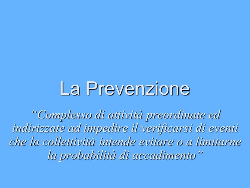 La Prevenzione Complesso di attività preordinate ed indirizzate ad impedire il verificarsi di eventi che la collettività intende evitare o a limitarne