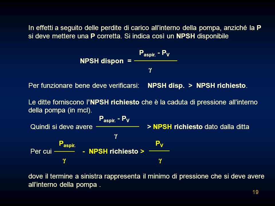 In effetti a seguito delle perdite di carico allinterno della pompa, anziché la P si deve mettere una P corretta. Si indica così un NPSH disponibile P