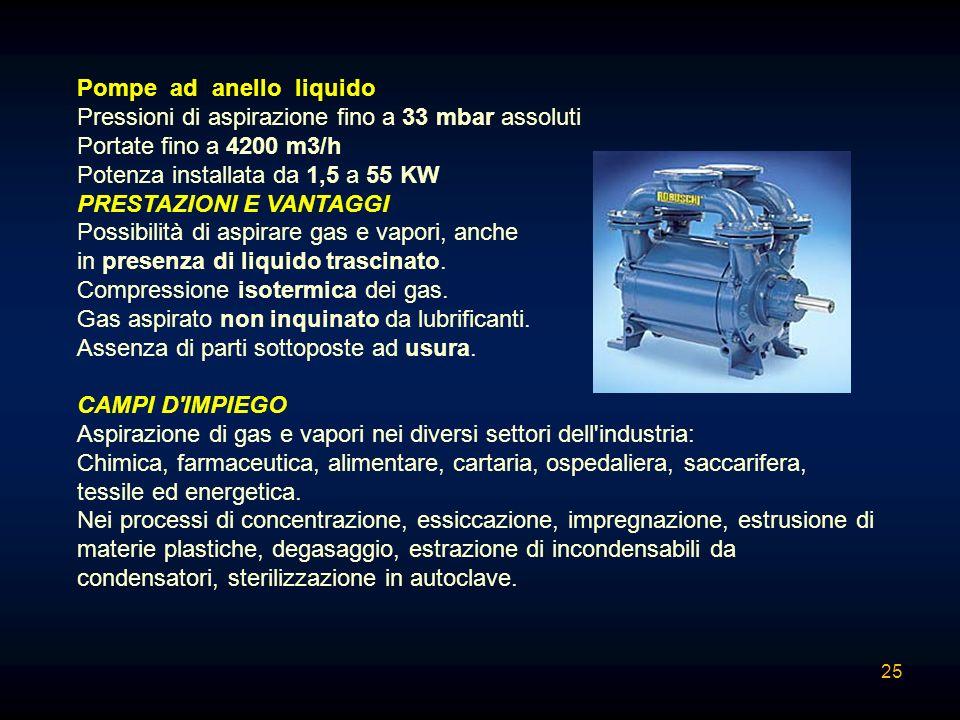 Pompe ad anello liquido Pressioni di aspirazione fino a 33 mbar assoluti Portate fino a 4200 m3/h Potenza installata da 1,5 a 55 KW PRESTAZIONI E VANT