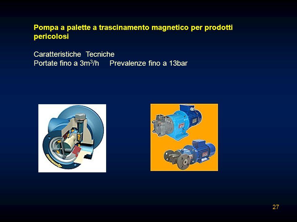 Pompa a palette a trascinamento magnetico per prodotti pericolosi Caratteristiche Tecniche Portate fino a 3m 3 /h Prevalenze fino a 13bar 27