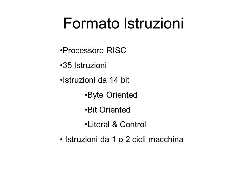 Formato Istruzioni Processore RISC 35 Istruzioni Istruzioni da 14 bit Byte Oriented Bit Oriented Literal & Control Istruzioni da 1 o 2 cicli macchina