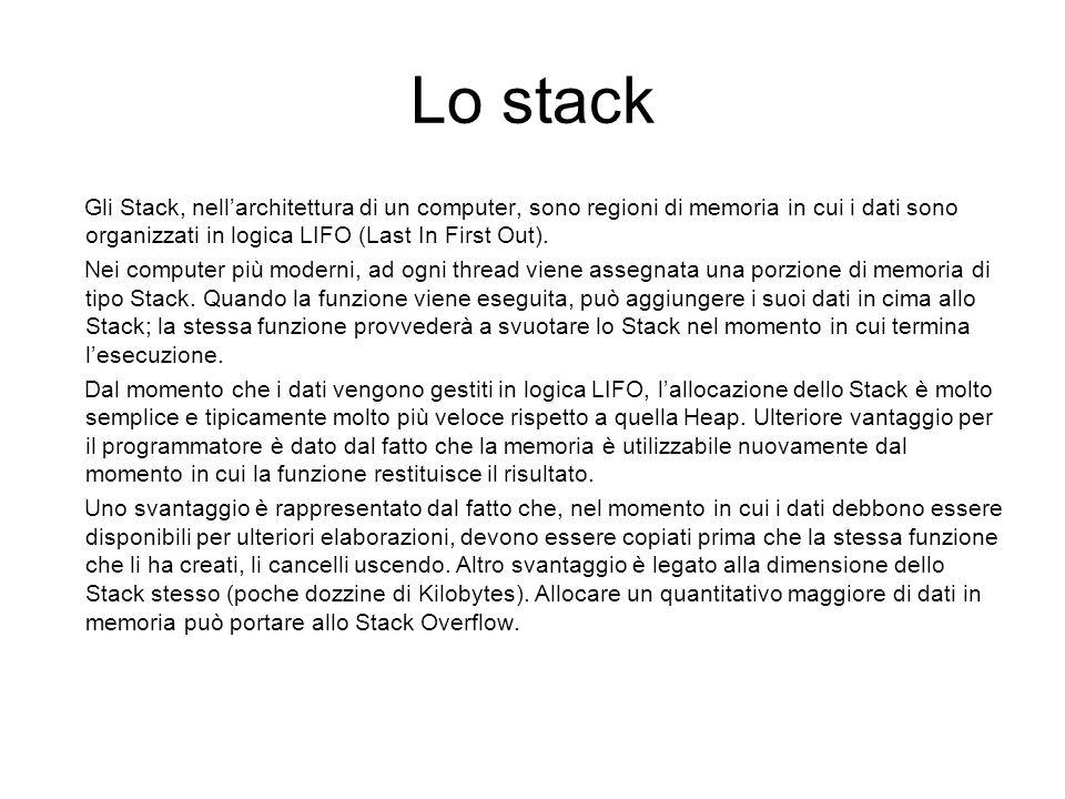 Lo stack Gli Stack, nellarchitettura di un computer, sono regioni di memoria in cui i dati sono organizzati in logica LIFO (Last In First Out). Nei co
