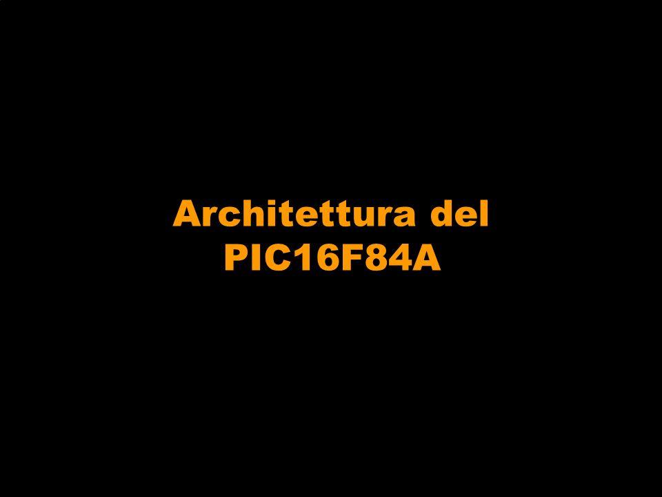 Instruction Set del PIC 16F84A Linstruction set del PIC è caratterizzato da 35 istruzioni, nella maggior parte richiedono 1 ciclo di clock per lesecuzione, le istruzioni di salto e di chiamata a subroutine richiedono in genere 2 cicli