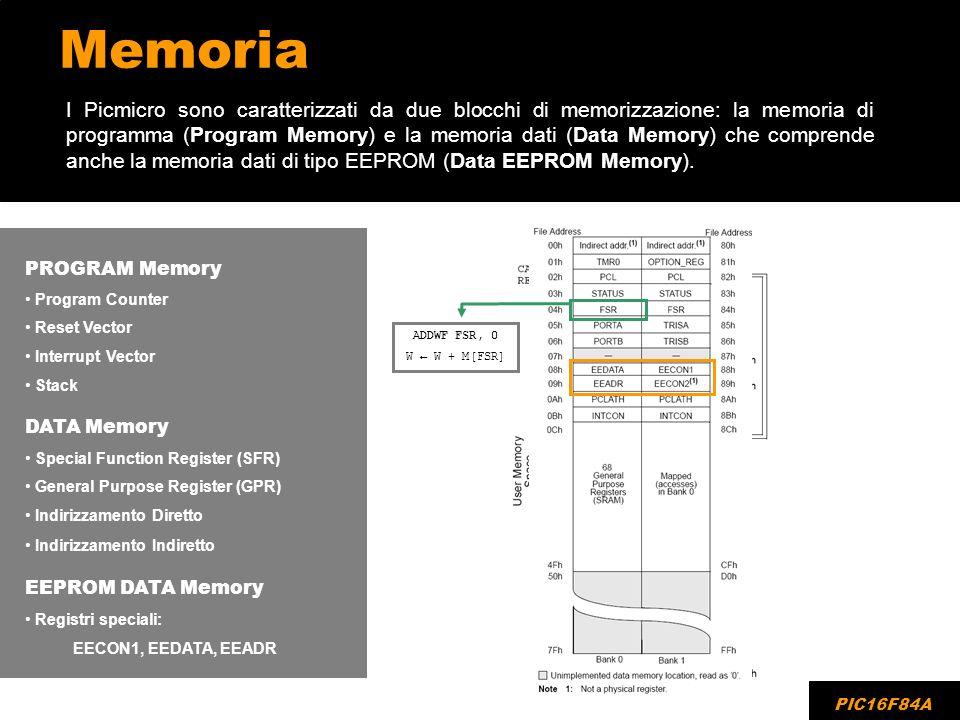 Memoria I Picmicro sono caratterizzati da due blocchi di memorizzazione: la memoria di programma (Program Memory) e la memoria dati (Data Memory) che
