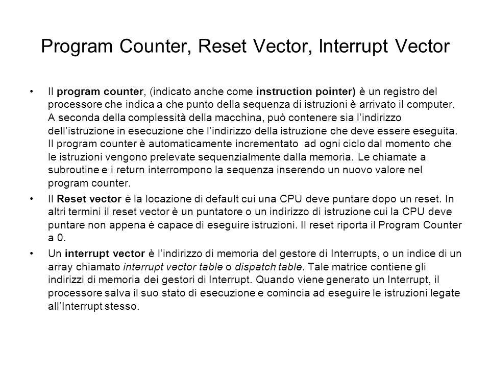 Program Counter, Reset Vector, Interrupt Vector Il program counter, (indicato anche come instruction pointer) è un registro del processore che indica