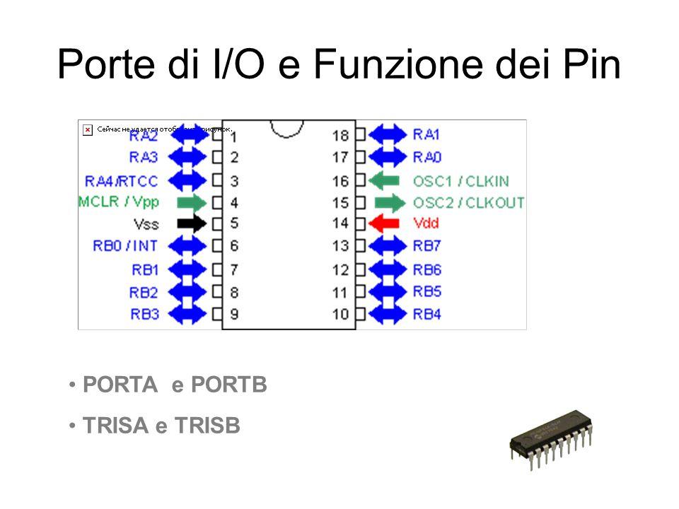 Porte di I/O e Funzione dei Pin PORTA e PORTB TRISA e TRISB