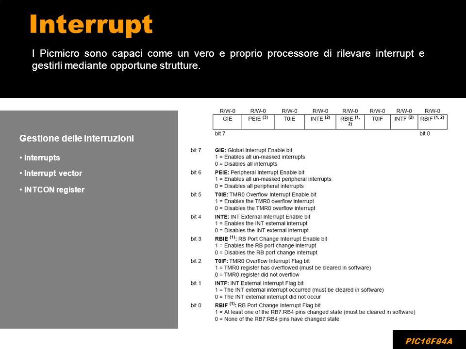 Interrupt I Picmicro sono capaci come un vero e proprio processore di rilevare interrupt e gestirli mediante opportune strutture. PIC16F84A Gestione d