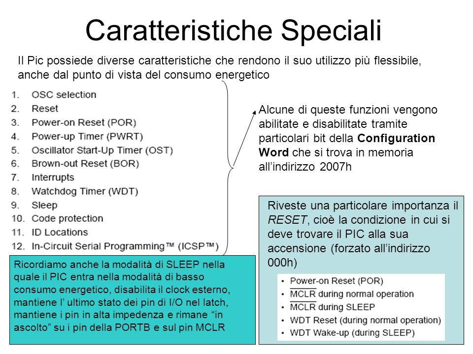 Caratteristiche Speciali Il Pic possiede diverse caratteristiche che rendono il suo utilizzo più flessibile, anche dal punto di vista del consumo ener