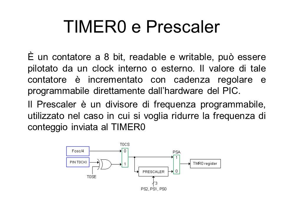 TIMER0 e Prescaler È un contatore a 8 bit, readable e writable, può essere pilotato da un clock interno o esterno. Il valore di tale contatore è incre