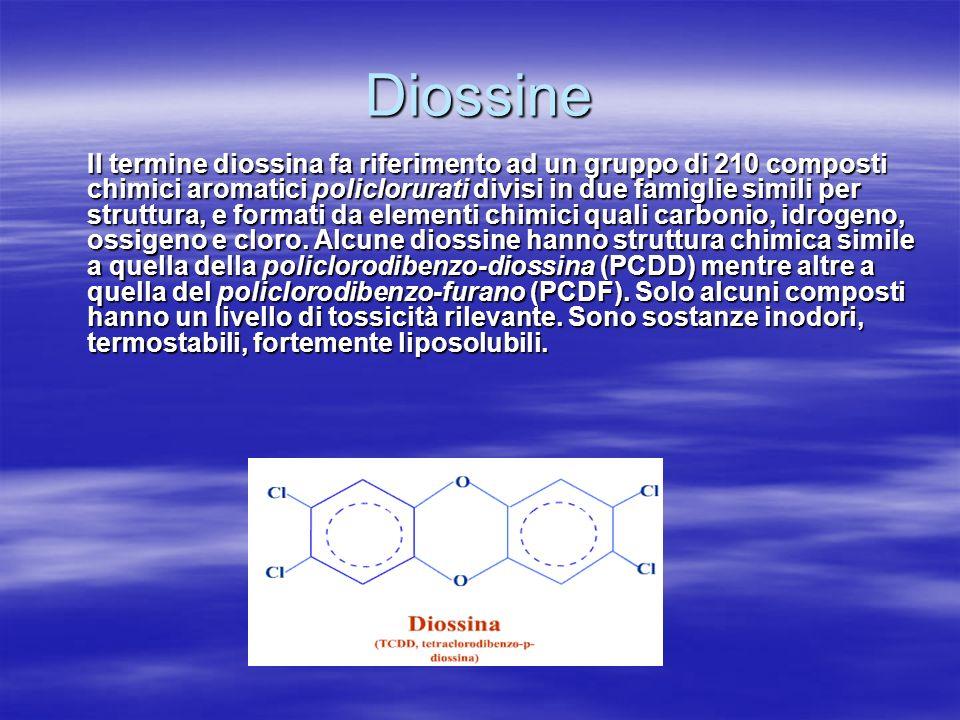 Diossine Il termine diossina fa riferimento ad un gruppo di 210 composti chimici aromatici policlorurati divisi in due famiglie simili per struttura, e formati da elementi chimici quali carbonio, idrogeno, ossigeno e cloro.