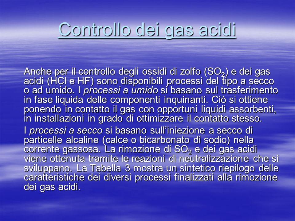 Controllo dei gas acidi Anche per il controllo degli ossidi di zolfo (SO 2 ) e dei gas acidi (HCl e HF) sono disponibili processi del tipo a secco o ad umido.