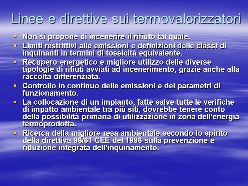 Linee e direttive sui termovalorizzatori Non si propone di incenerire il rifiuto tal quale.
