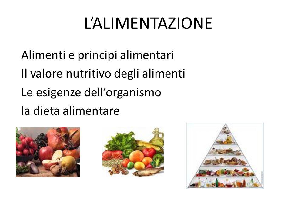 ALIMENTI E PRINCIPI ALIMENTARI I principi alimentari sono: carboidrati, lipidi, proteine, acqua, sali minerali e vitamine.