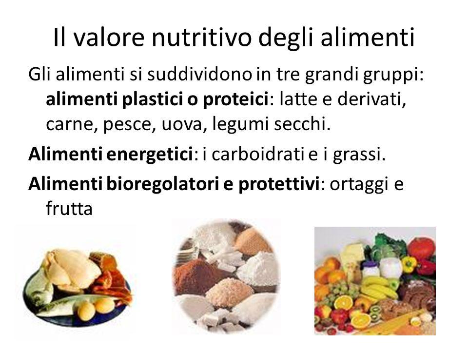 Il valore nutritivo degli alimenti Gli alimenti si suddividono in tre grandi gruppi: alimenti plastici o proteici: latte e derivati, carne, pesce, uov
