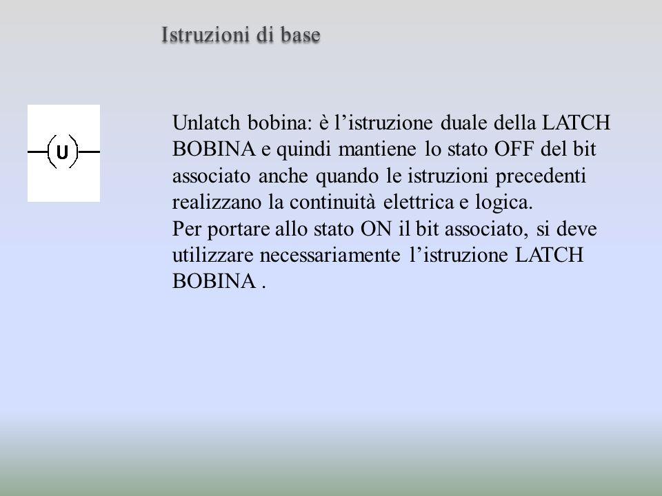 Istruzioni di base Unlatch bobina: è listruzione duale della LATCH BOBINA e quindi mantiene lo stato OFF del bit associato anche quando le istruzioni