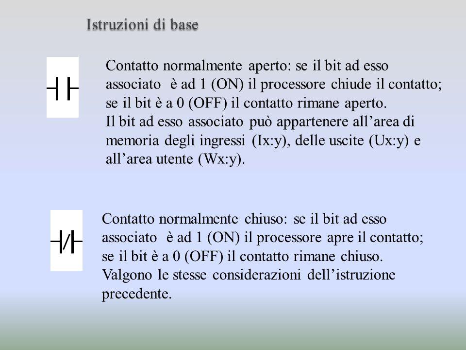 Istruzioni di base Bobina: è utilizzata per settare il bit ad essa associato che può essere un bit dellarea delle uscite (Ux:y) o un bit dellarea utente (Wx:y).