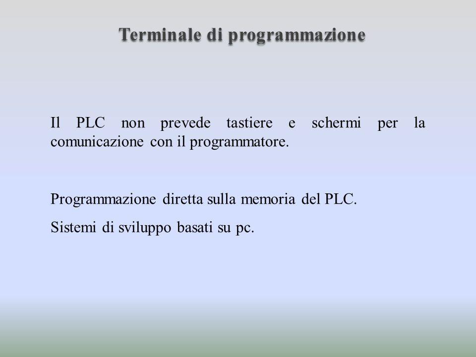 Terminale di programmazione Programmazione diretta sulla memoria del PLC: Terminali a tastiera: Connessione tramite seriale; Display.