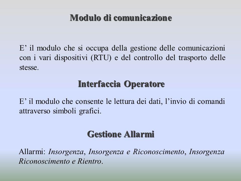 E il modulo che si occupa della gestione delle comunicazioni con i vari dispositivi (RTU) e del controllo del trasporto delle stesse. Modulo di comuni