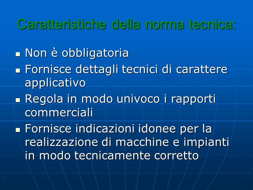 Caratteristiche della norma tecnica: Non è obbligatoria Non è obbligatoria Fornisce dettagli tecnici di carattere applicativo Fornisce dettagli tecnic