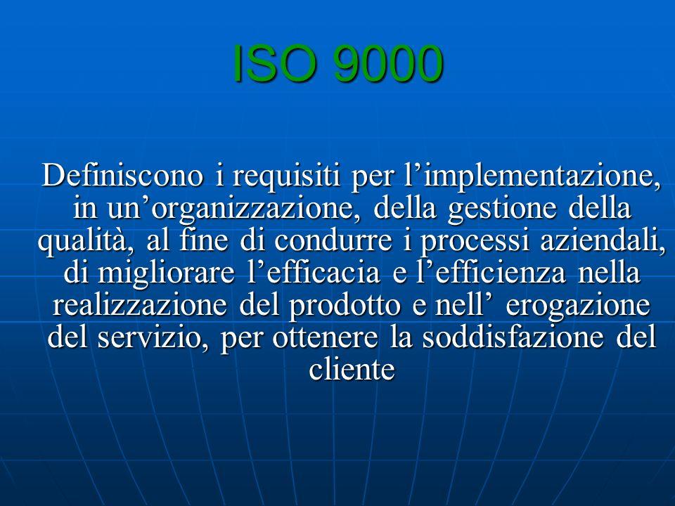 ISO 9000 Definiscono i requisiti per limplementazione, in unorganizzazione, della gestione della qualità, al fine di condurre i processi aziendali, di migliorare lefficacia e lefficienza nella realizzazione del prodotto e nell erogazione del servizio, per ottenere la soddisfazione del cliente
