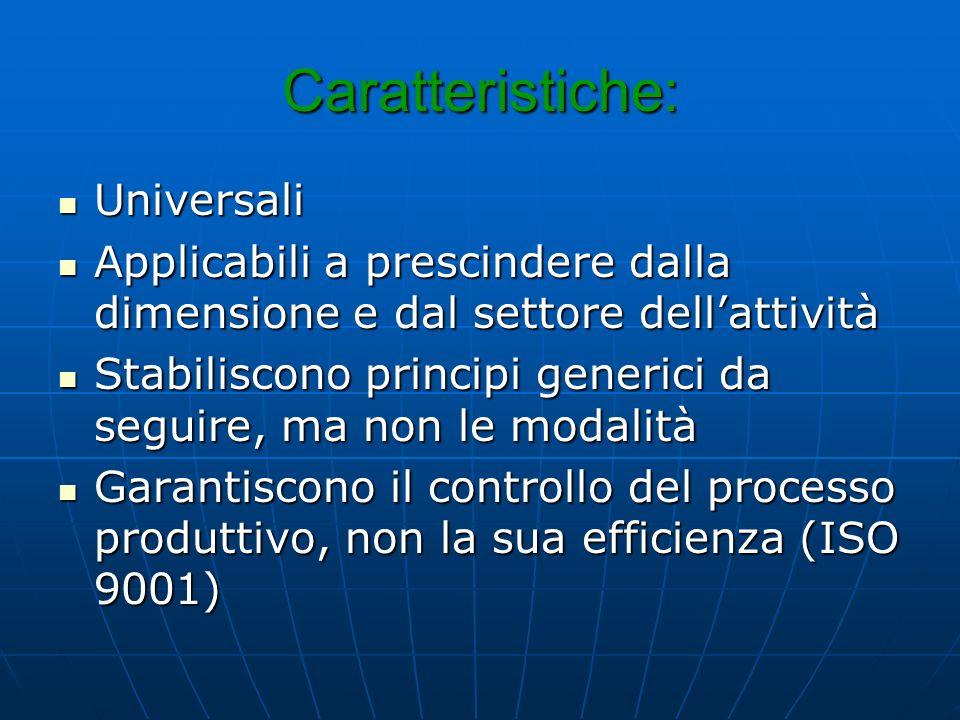 Caratteristiche: Universali Universali Applicabili a prescindere dalla dimensione e dal settore dellattività Applicabili a prescindere dalla dimensione e dal settore dellattività Stabiliscono principi generici da seguire, ma non le modalità Stabiliscono principi generici da seguire, ma non le modalità Garantiscono il controllo del processo produttivo, non la sua efficienza (ISO 9001) Garantiscono il controllo del processo produttivo, non la sua efficienza (ISO 9001)
