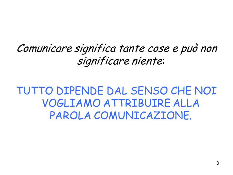 3 Comunicare significa tante cose e può non significare niente: TUTTO DIPENDE DAL SENSO CHE NOI VOGLIAMO ATTRIBUIRE ALLA PAROLA COMUNICAZIONE.