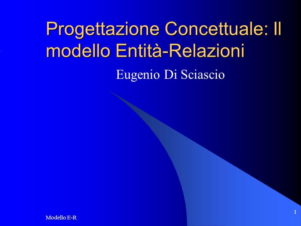 Modello E-R 2 Lo schema concettuale Cosa è: una rappresentazione di alto livello dei requisiti sui dati raccolti nello URD.