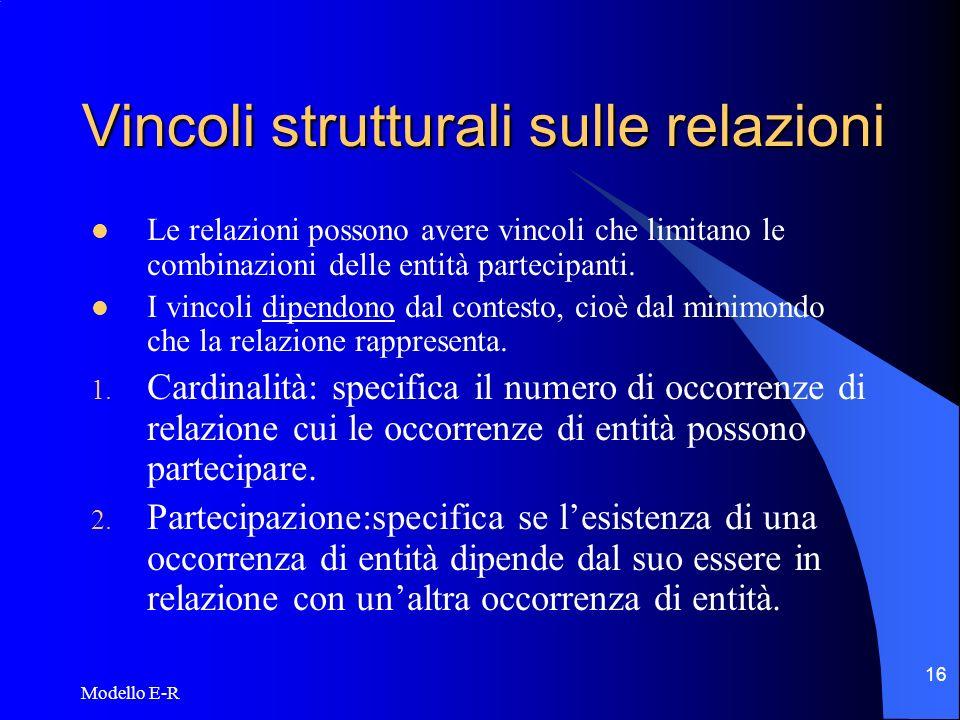 Modello E-R 17 Cardinalità Le cardinalità vengono espresse normalmente come 1:1, 1:N, M:N.