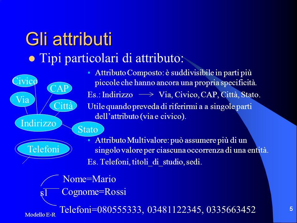 Modello E-R 6 Gli attributi (cont.d) Ancora sugli attributi: Attributo derivato: attributo che è possibile o conveniente determinare a partire da altri attributi immagazzinati.