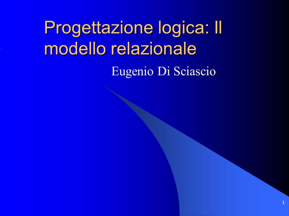 1 Progettazione logica: Il modello relazionale Eugenio Di Sciascio