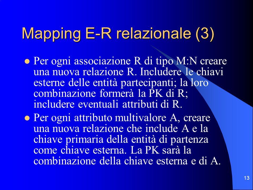 13 Mapping E-R relazionale (3) Per ogni associazione R di tipo M:N creare una nuova relazione R.
