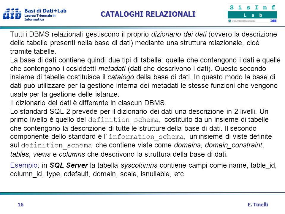 Basi di Dati+Lab Laurea Triennale in Informatica E. Tinelli16 CATALOGHI RELAZIONALI Tutti i DBMS relazionali gestiscono il proprio dizionario dei dati