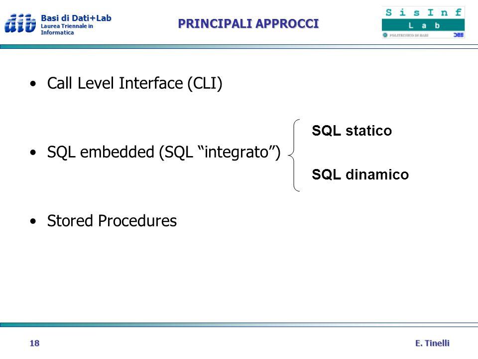 Basi di Dati+Lab Laurea Triennale in Informatica E. Tinelli18 PRINCIPALI APPROCCI Call Level Interface (CLI) SQL embedded (SQL integrato) Stored Proce