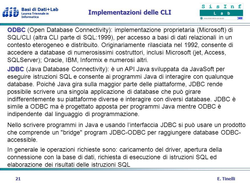Basi di Dati+Lab Laurea Triennale in Informatica E. Tinelli21 Implementazioni delle CLI ODBC ODBC (Open Database Connectivity): implementazione propri