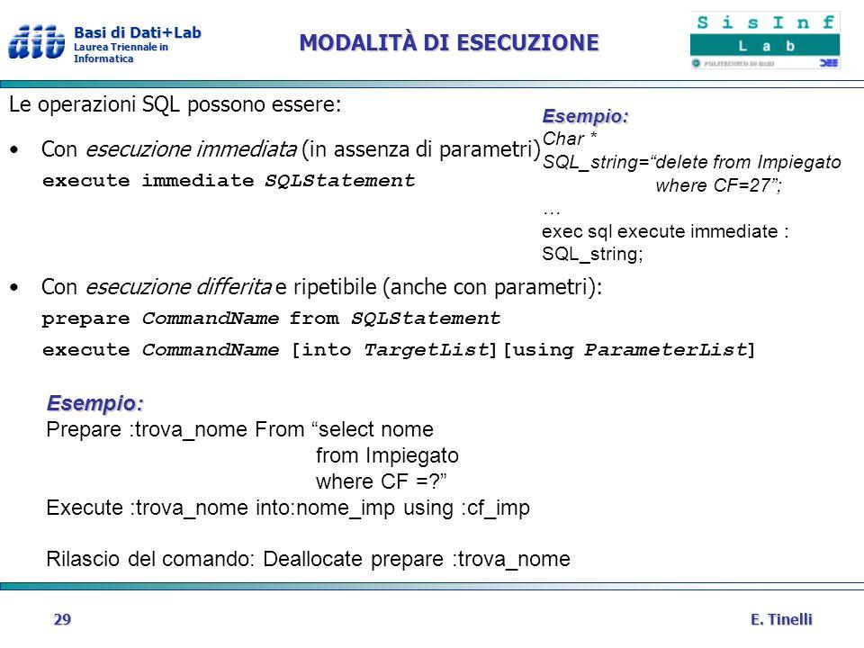 Basi di Dati+Lab Laurea Triennale in Informatica E. Tinelli29 MODALITÀ DI ESECUZIONE Le operazioni SQL possono essere: Con esecuzione immediata (in as