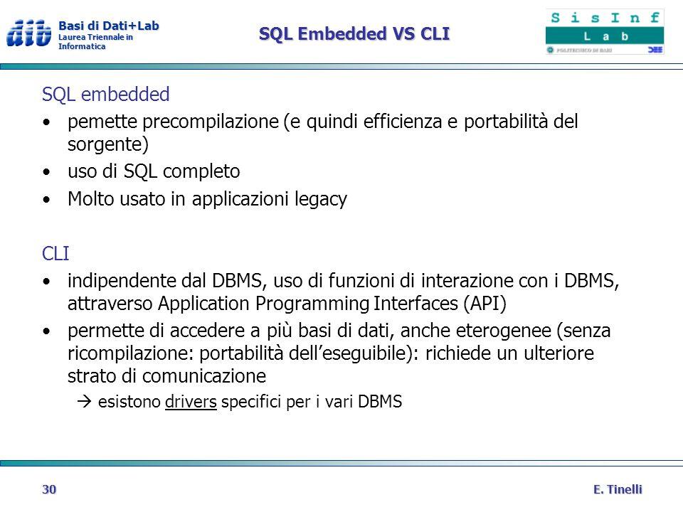 Basi di Dati+Lab Laurea Triennale in Informatica E. Tinelli30 SQL Embedded VS CLI SQL embedded pemette precompilazione (e quindi efficienza e portabil