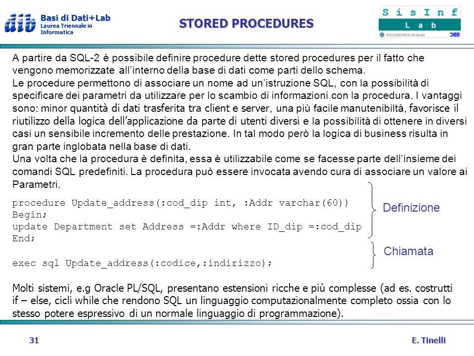 Basi di Dati+Lab Laurea Triennale in Informatica E. Tinelli31 STORED PROCEDURES A partire da SQL-2 è possibile definire procedure dette stored procedu