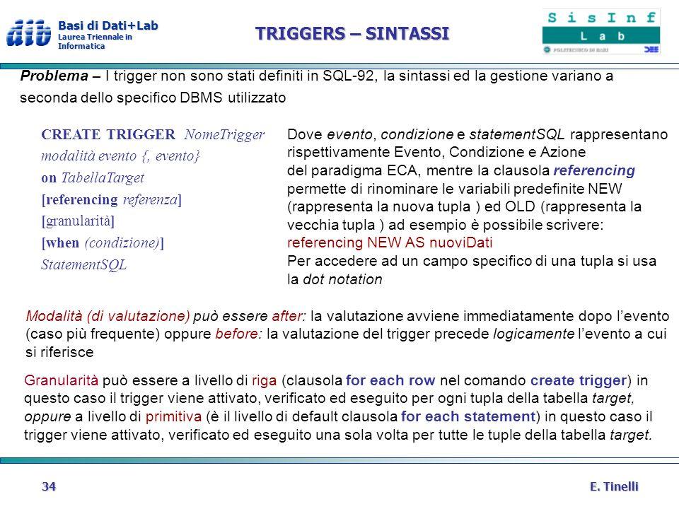 Basi di Dati+Lab Laurea Triennale in Informatica E. Tinelli34 TRIGGERS – SINTASSI Problema – I trigger non sono stati definiti in SQL-92, la sintassi