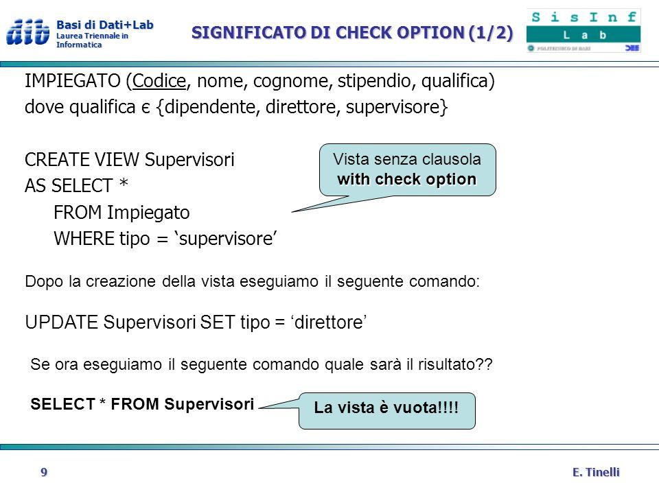 Basi di Dati+Lab Laurea Triennale in Informatica E. Tinelli9 SIGNIFICATO DI CHECK OPTION (1/2) IMPIEGATO (Codice, nome, cognome, stipendio, qualifica)