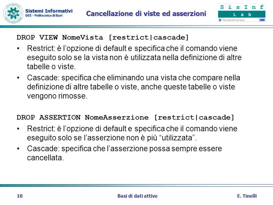 Sistemi Informativi DEE - Politecnico di Bari E. TinelliBasi di dati attive10 Cancellazione di viste ed asserzioni DROP VIEW NomeVista [restrict|casca