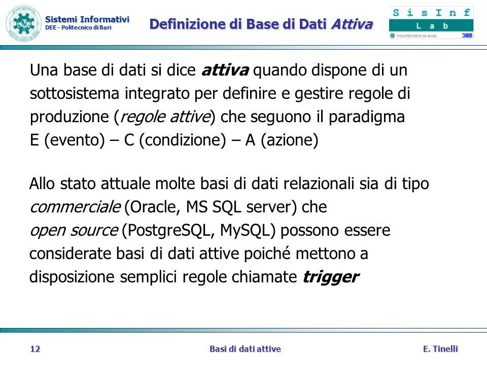 Sistemi Informativi DEE - Politecnico di Bari E. TinelliBasi di dati attive12 Definizione di Base di Dati Attiva Una base di dati si dice attiva quand