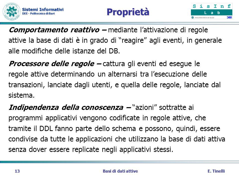 Sistemi Informativi DEE - Politecnico di Bari E. TinelliBasi di dati attive13 Proprietà Comportamento reattivo – mediante lattivazione di regole attiv