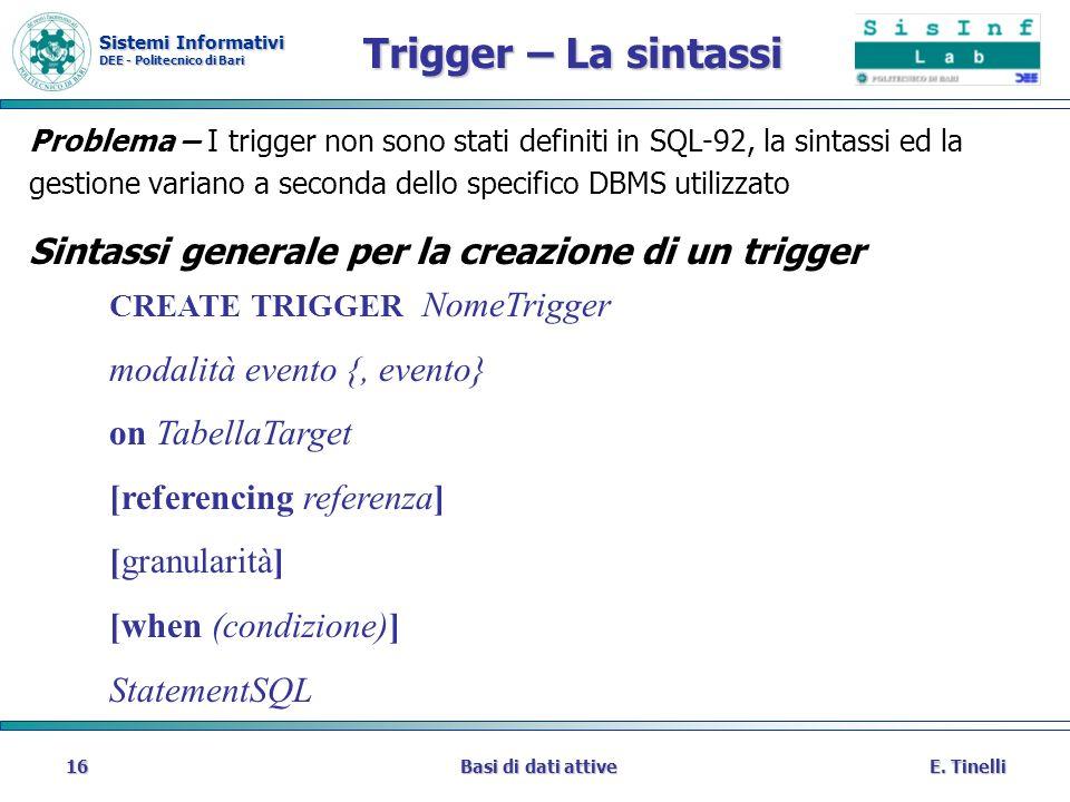 Sistemi Informativi DEE - Politecnico di Bari E. TinelliBasi di dati attive16 Trigger – La sintassi Problema – I trigger non sono stati definiti in SQ